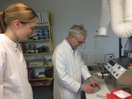 Daniel Bar Shalom Department of Pharmacy and Student working with the Caleva Multi Lab