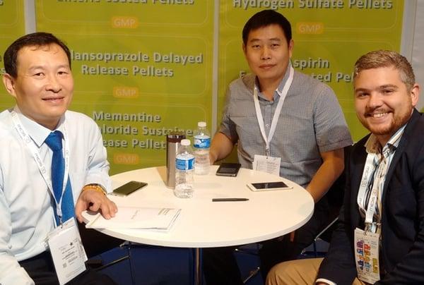 Yan Yidong and Wang Jinjing of Beijing Fogangren Bio Pharma Ltd with Aaron Quinn from Caleva at CPHI Madrid 2015