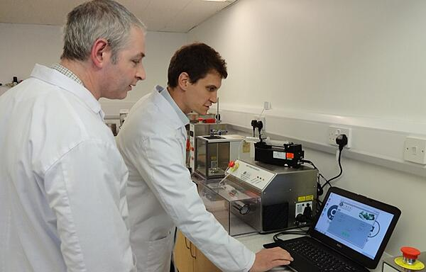 John Weedon and Mike Silvey in the Caleva laboratory