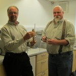 Mr Paul Bick (left) and Mr Paul Schaa Visiting Caleva to evaluate the variable density extruder