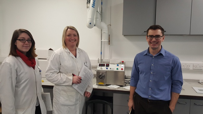 Hannah Rigby Alison Bradley and Dr David Berry with their new Caleva Multi Lab