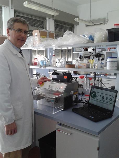 Professor Nicola Realdon and the new Caleva Mixer Torque Rheometer with Binder Addition at Universita Deglu Studi Di Padova