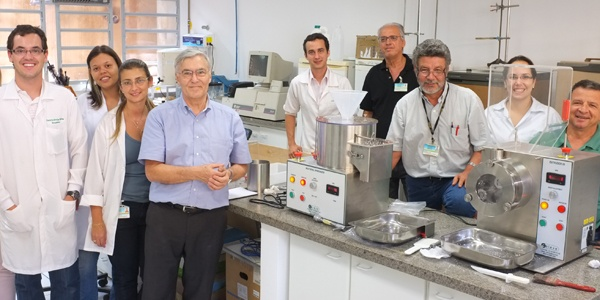 caleva extruder 20 and multi-bowl spheronizer 250 installed in a laboratory at the usp university of sao paulo campus in riberao pr
